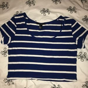 Tops - Blue and white crop Top